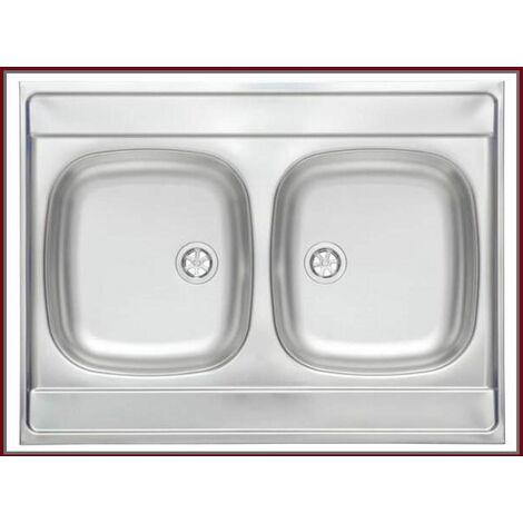 ROYALE   Évier en acier inoxidable 2 cuves   80x60x15 cm   Réversible   Évier à poser cuisine 2 bacs - Argent