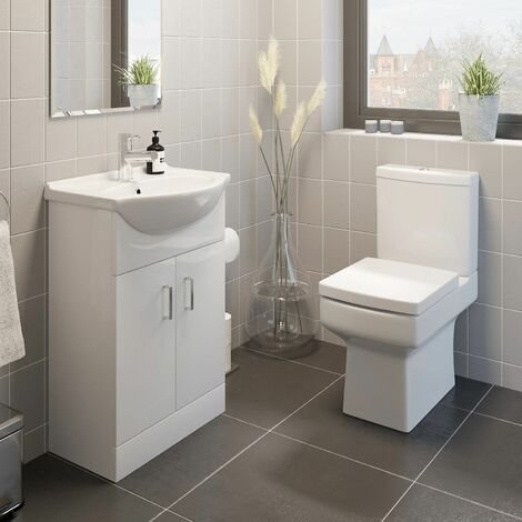 Royan Toilet 550mm Cloakroom Suite Vanity Unit WC Basin Sink White Soft Close