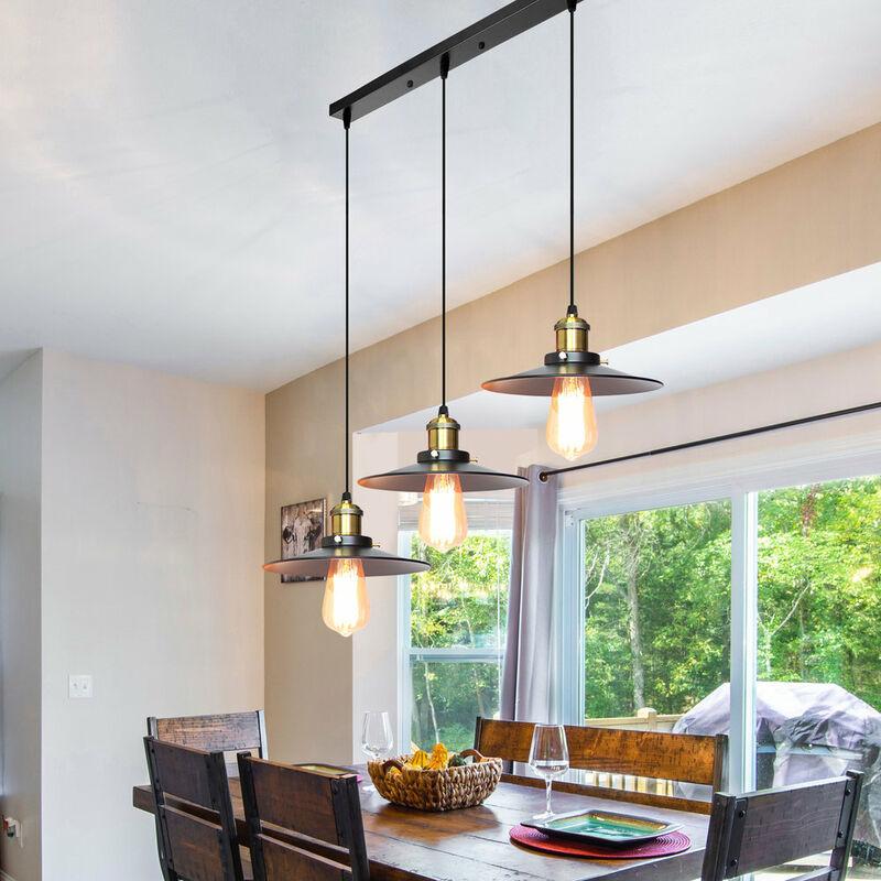 R tro suspension luminaire industriel barre de 3 lampe lustre abat jour vintage plafonnier - Suspension pour cuisine ...