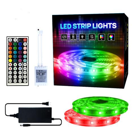 Ruban 2*5M 5050 RGB Kit Bande LED, Bande Lumineuse Flexible Multicolore avec Télécommande à 44 Touches, Alimentation 12V, Bande RGB LED Décor pour Accueil Fête DIY Noël[Classe énergétique A+]