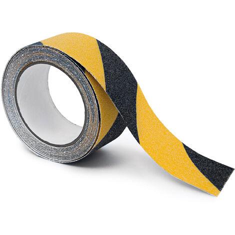 Ruban adhésif 50 mm x 5 m autocollant pour usage intérieur & extérieur, noir / jaune