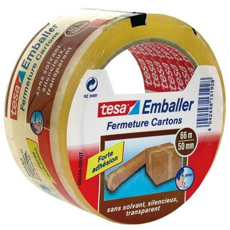 Tesa Emballer Adh/ésif de Fermeture PVC Extra Fort Marron 40m x 50mm