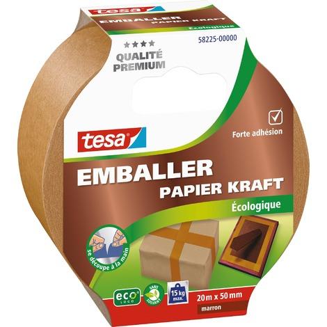 Ruban adhésif emballer papier kraft Tesa - Largeur 50 mm - Longueur 20 m - Marron