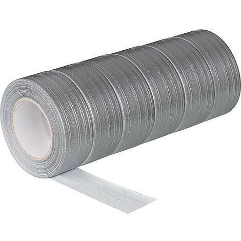 Ruban adhésif en textile PE argent - 50 mm x 50 m sachet de 6 rouleaux