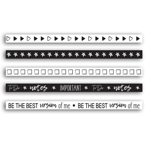 Ruban adhésif mini masking tape Bullet journal (Lot de 5)