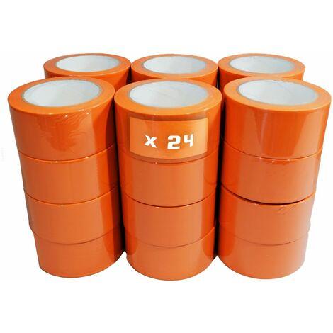 Ruban adhésif PVC orange bâtiment 75 mm x 33 m [Carton 24 Rlx] - rouleau adhésif 150µ