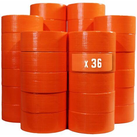 Ruban adhésif toilé orange 150µ - rouleau adhésif 50 mm x 33 m pour fixer les bâches, fils et câbles - Carton de 36