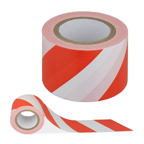 ruban d'interdiction, anti-déchirure, rubalise pour chantier & danger, PE, 80 mm x 200 m, rouge-blanc