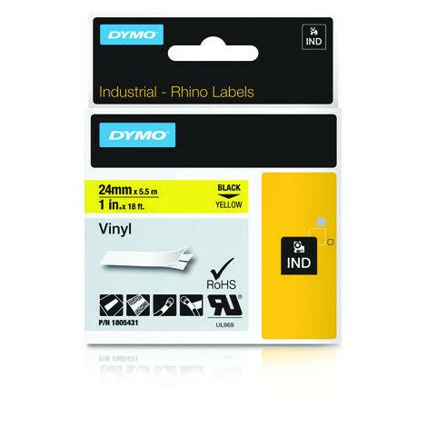 Ruban encreur IND RHINO DYMO 1805431 1805431 Vinyle Couleur de ruban: jaune Couleur de police: noir 24 mm 5.5 m 1 pc(s)