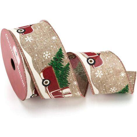 Ruban filaire de Noël, ruban cadeau en toile de jute de camion avec joyeux arbre de Noël et décorations de ruban de tissu de camion rouge Ornements de bord filaire 2 rouleaux de 10 m chaque rouleau de couronne de porte