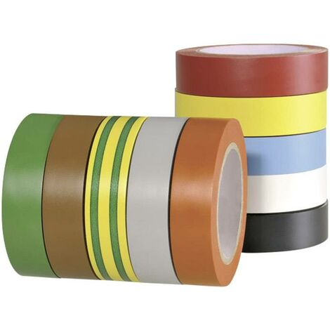 Ruban isolant HelaTape Flex 15 HellermannTyton 710-00146 rouge, gris, jaune, vert, bleu, orange, blanc, marron, noir (L x l) 10 m x 15 mm 10 pc(s) Y940791