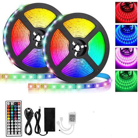Ruban LED, 10M Bande LED 600 LEDs 2835 RGB IP65, Étanche Multicolore Bande LED Lumineuse avec Télécommande changement Synchroniser avec Rythme de Musique, pour Maison Cuisine