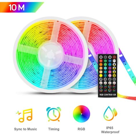 Ruban LED 10m etanche, Bande LED RGB5050 12V, Multicolore IP65 avec Fonction Mucial chronométrage,Télécommande à Infrarouge, Led Ruban pour Intérieure/Extérieur Chambre,Maison, Fête,Noël etc…