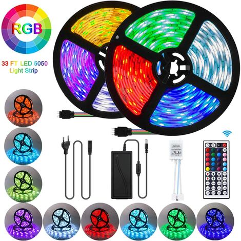 Ruban LED 10M,LED Ruban 300 LED 5050 RGB SMD Multicolore Bande LED Lumineuse avec Télécommande à Infrarouge 44 Touches et Alimentation 12V 33FT [Classe énergétique A+++] - Multi Color