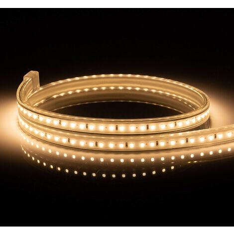 Ruban LED 220V AC 120 LED/m IP65 Blanc Chaud Sur Mesure Coupe Tous les 50cm 14m - 14m