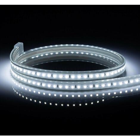 Ruban LED 220V AC 120 LED/m IP65 Blanc Froid Sur Mesure Coupe Tous les 50cm 15m - 15m