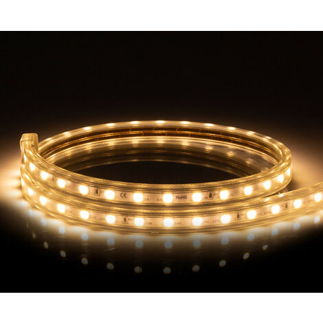 Ruban LED 220V AC 60 LED/m Blanc Chaud