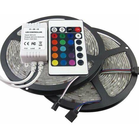 Ruban LED 5m 30LED/m SMD5050 avec télécommande