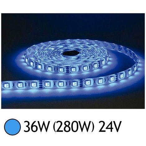 ruban led 7.2 watts /m - bleu - rouleau 5m 24v