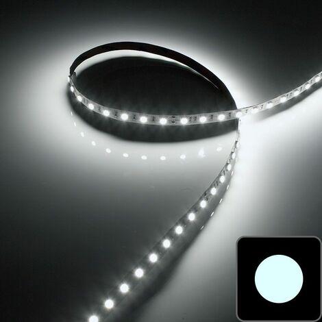 Ruban LED Blanc - IP20 5050 - 14.4W/m - 60 LED/m - 5m | Température de couleur Blanc Pur - Nombre de LED / mètre 60 LED/m - Indice de Protection IP20 - Puissance (en Watts/mètre) 14.4 W/m