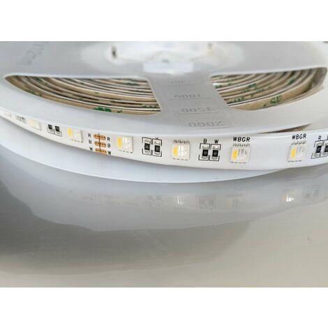 Ruban LED étanche IP65 60LED/m 17W/m 5m RGB + Blanc du Jour 6000K