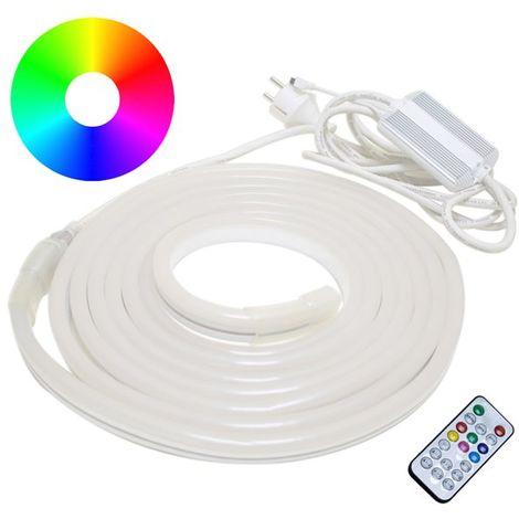 Ruban LED néon flexible d'extérieur multicolore RGB 5 mètres