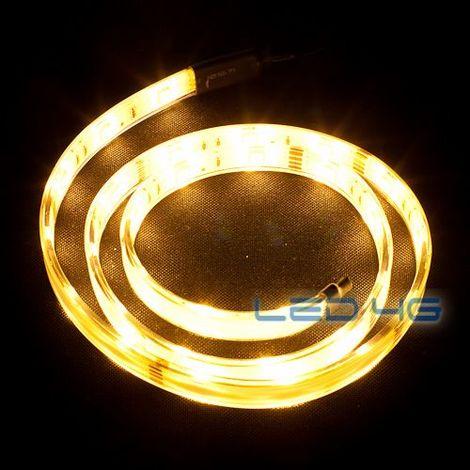 Ruban LED puissant blanc chaud etanche en 1 et 5M - LED 4G (Longueur : 5 Mètres)