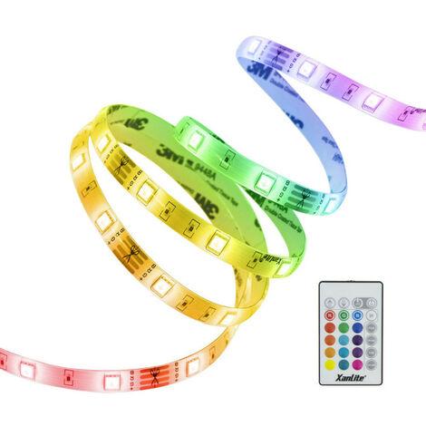 Ruban LED RVB Digital (kit complet) - 5m - 4 programmes animés & colorés | Xanlite