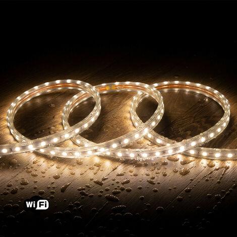 Ruban LED Smart WiFi 220V AC 60 LED/m Blanc Chaud IP65 sur Mesure 12m - 12m