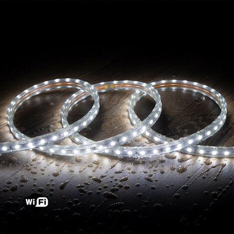 Ruban LED Smart WiFi 220V AC 60 LED/m Blanc Froid IP65 sur Mesure 20m - 20m