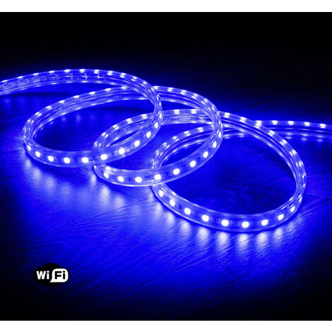 Ruban LED Smart WiFi 220V AC 60 LED/m Bleu IP65 sur Mesure 17m - 17m