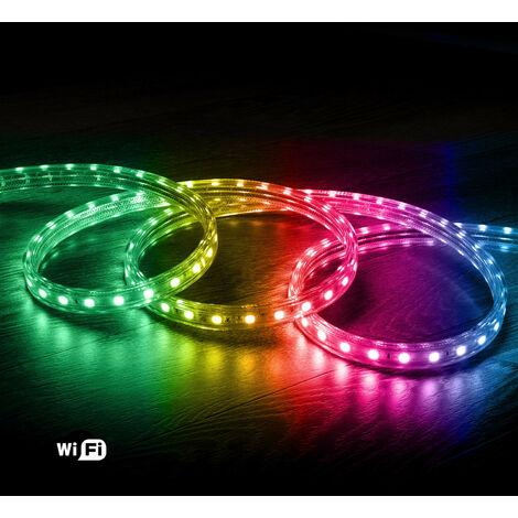 Ruban LED Smart WiFi 220V AC 60 LED/m RGB IP65 sur Mesure 5m - 5m