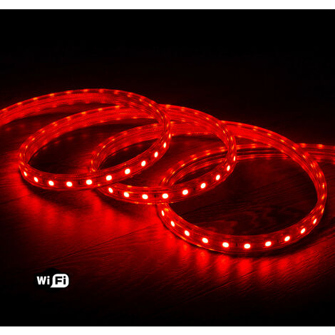 Ruban LED Smart WiFi 220V AC 60 LED/m Rouge IP65 sur Mesure 50m - 50m