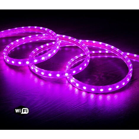 Ruban LED Smart WiFi 220V AC 60 LED/m Violet IP65 sur Mesure 19m - 19m