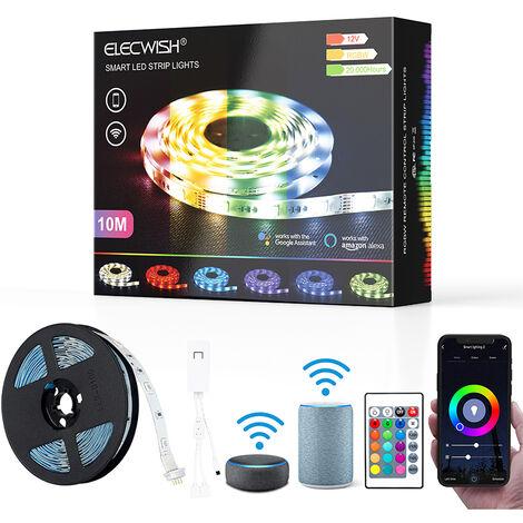Ruban LED Wifi Bande Lumineuse RGB éclairage décoratif Bande avec Télécommande, Commande vocale Alexa