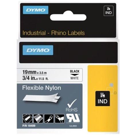 Ruban nylon continu pour étiqueteuse Rhino 4200, largeur 12 mm, longueur 3,5 m, noir sur blanc