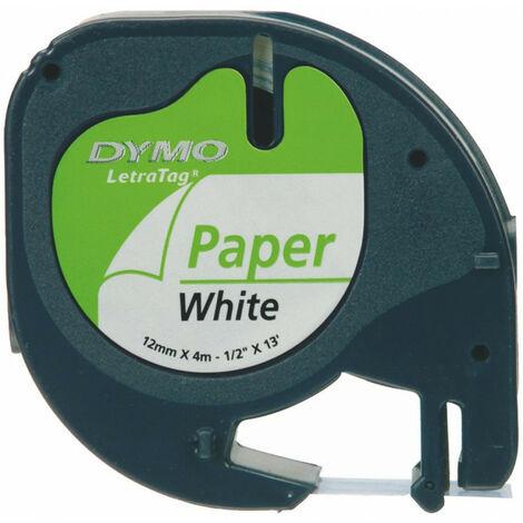 Ruban plastique letra tag 12mm 4 mt noir sur blanc 91201 s0721610