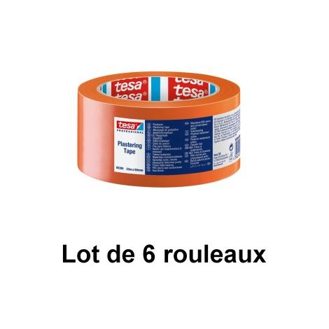 Ruban PVC orange standard, 50 mm x 33 m - tesa® 60399 - Lot de 6 rouleaux