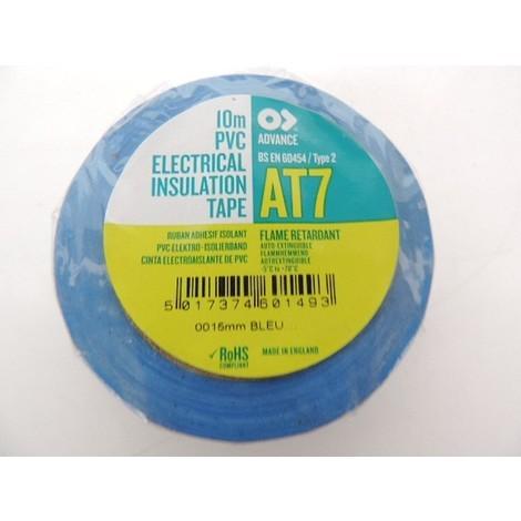 Ruban PVC vinyle isolant électrique bleu AT0007 Largeur 15mm rouleau de 10m ADVANCE TAPES 173822