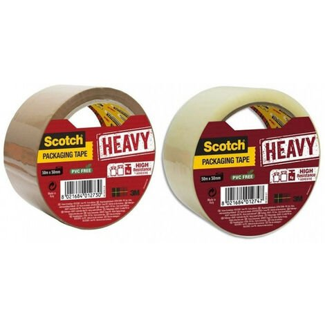 Ruban Scotch adhésif d'emballage haute résistance heavy brun foncé ou transparent 50mmx50m - plusieurs modèles disponibles