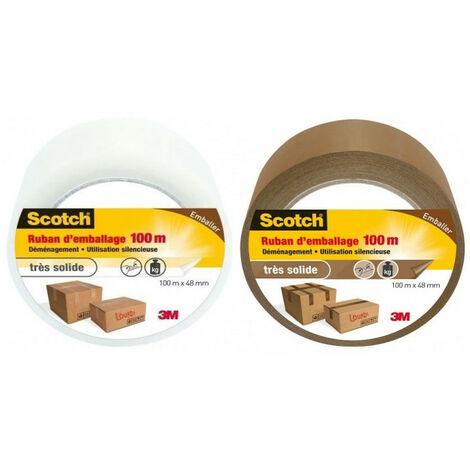 Ruban Scotch d'emballage découpable à la main marron ou transparent - plusieurs modèles disponibles