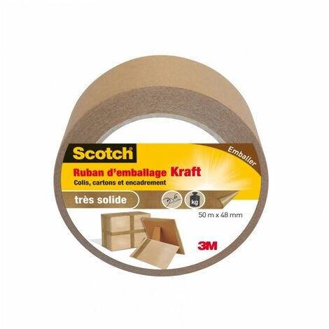 Ruban Scotch d'emballage Kraft 50mx48mm, idéal déménagement