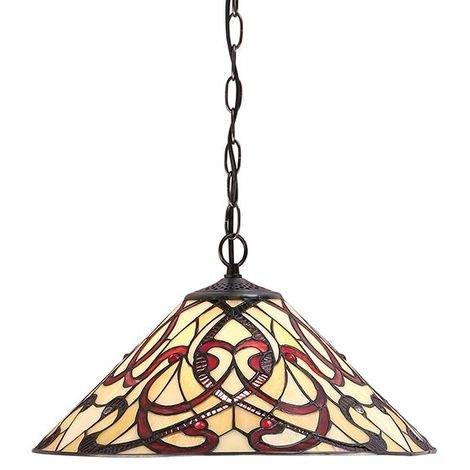 Ruban Tiffany Medium 1Lt Ceiling Pendant Light 60W