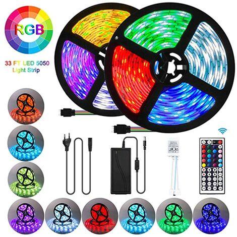 Rubans LED imperméables 10M 300 LED 5050 RGB SMD Bande LED multicolore avec télécommande infrarouge