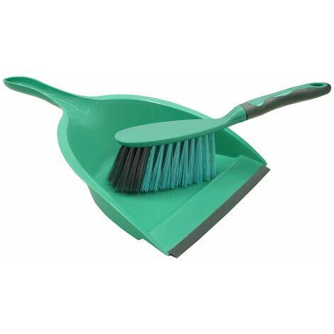 Rubber Grip Dustpan and Bristle Brush Set