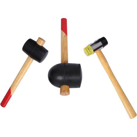 Rubber mallet set 3 pcs rubber hammers soft-face wooden handle