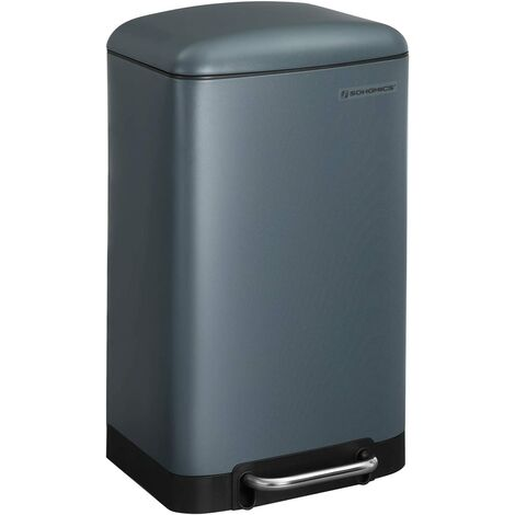 Rubbish Bin, 30L Trash Can, Steel Pedal Bin, with Inner Bucket and Lid, Soft Closure, Airtight, for Kitchen, Living Room, Smoky Grey LTB01GS