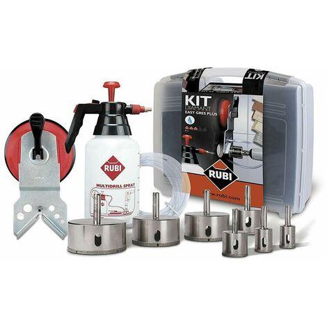 Rubi 50937 Jeu de 9 forets diamantés pour forage à l'eau, accessoires inclus