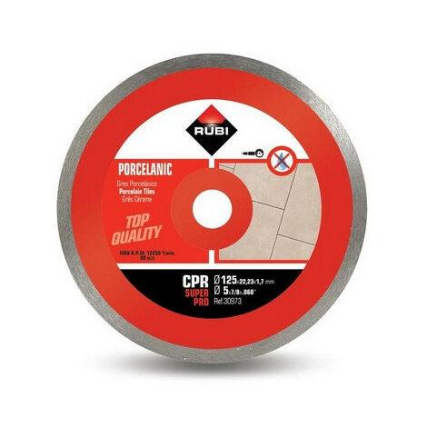 Rubi - Disque diamant pour grès porcelaine jante continue 125 mm x 22,2 mm CPR-125 SUPERPRO - TNT