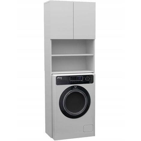 RUBI | Meuble machine à laver contemporain | 180x64x30 | Rangement salle de bain | Espace buanderie/lave linge | Placard/étagères | Blanc - Blanc